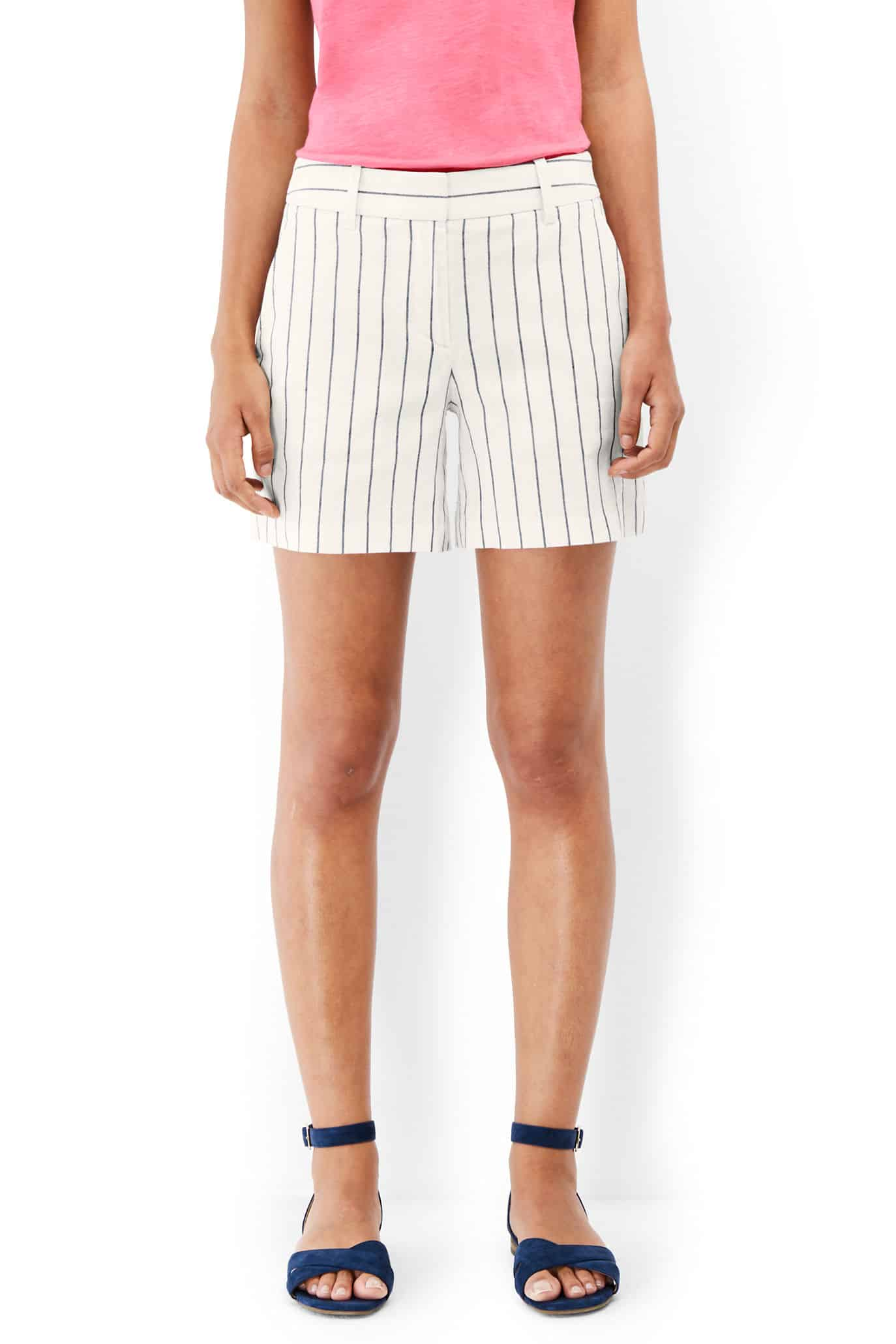 Striped linen shorts, mid-length