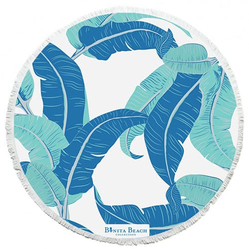 Blue, aqua and white roundie beach towel