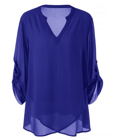 From our fashion for women over 70 collection: sheer blue tunic with v neck