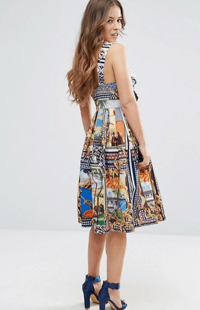 """Colorful postcard dress from ASOS - from our """"what to wear on vacation"""" collection"""