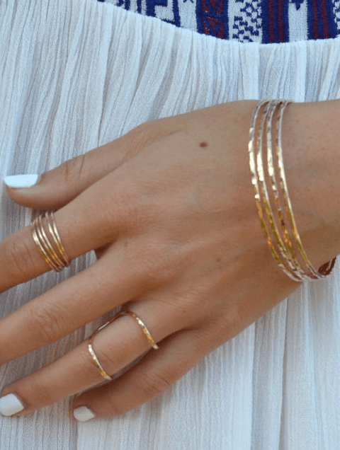 Set of bangle bracelets and stacked rings