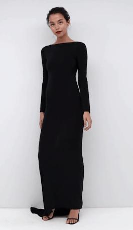 Long sleeved, black, mermaid style dress