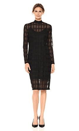 Long sleeve black dress with sheer over-layer