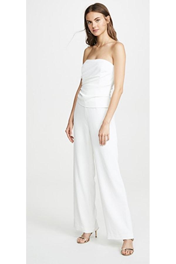 Ronny Kobo white bridal jumpsuit
