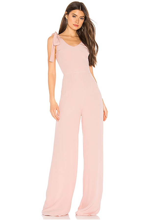 Soft pink jumpsuit -- perfect for a bridesmaid jumpsuit!