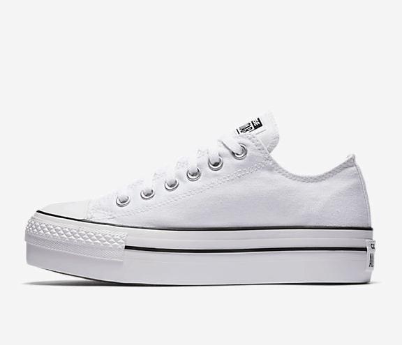 White canvas platform sneaker
