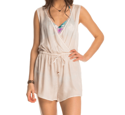 Ivory colored swim cover in a romper style