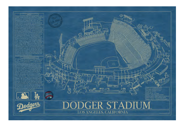 Blueprint of Dodger stadium from UncommonGoods