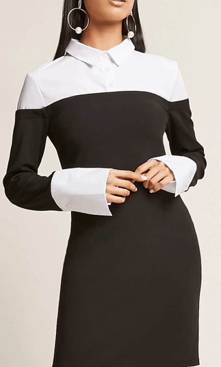 Black dress with white collar and white cuffs