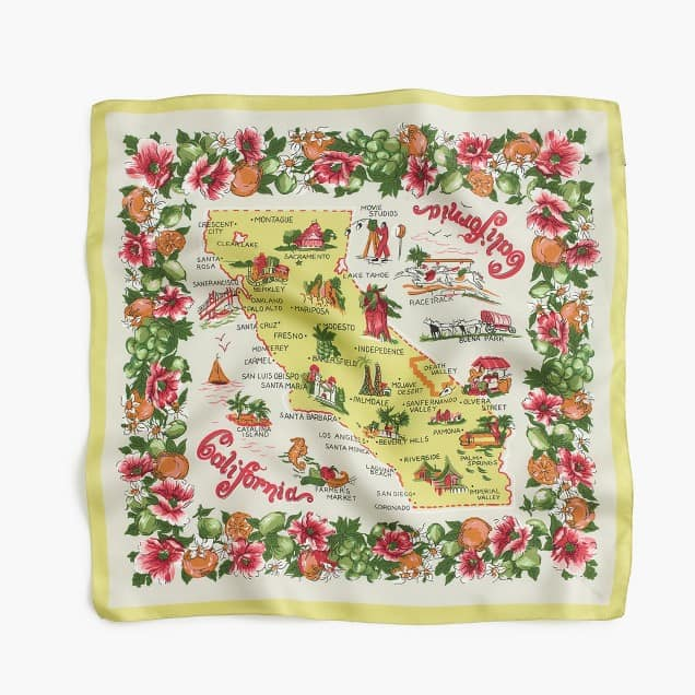 Vintage Silk Scarf with California Theme