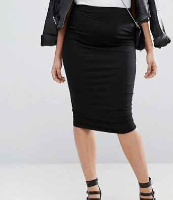 Jersey pencil skirt in black, plus-size