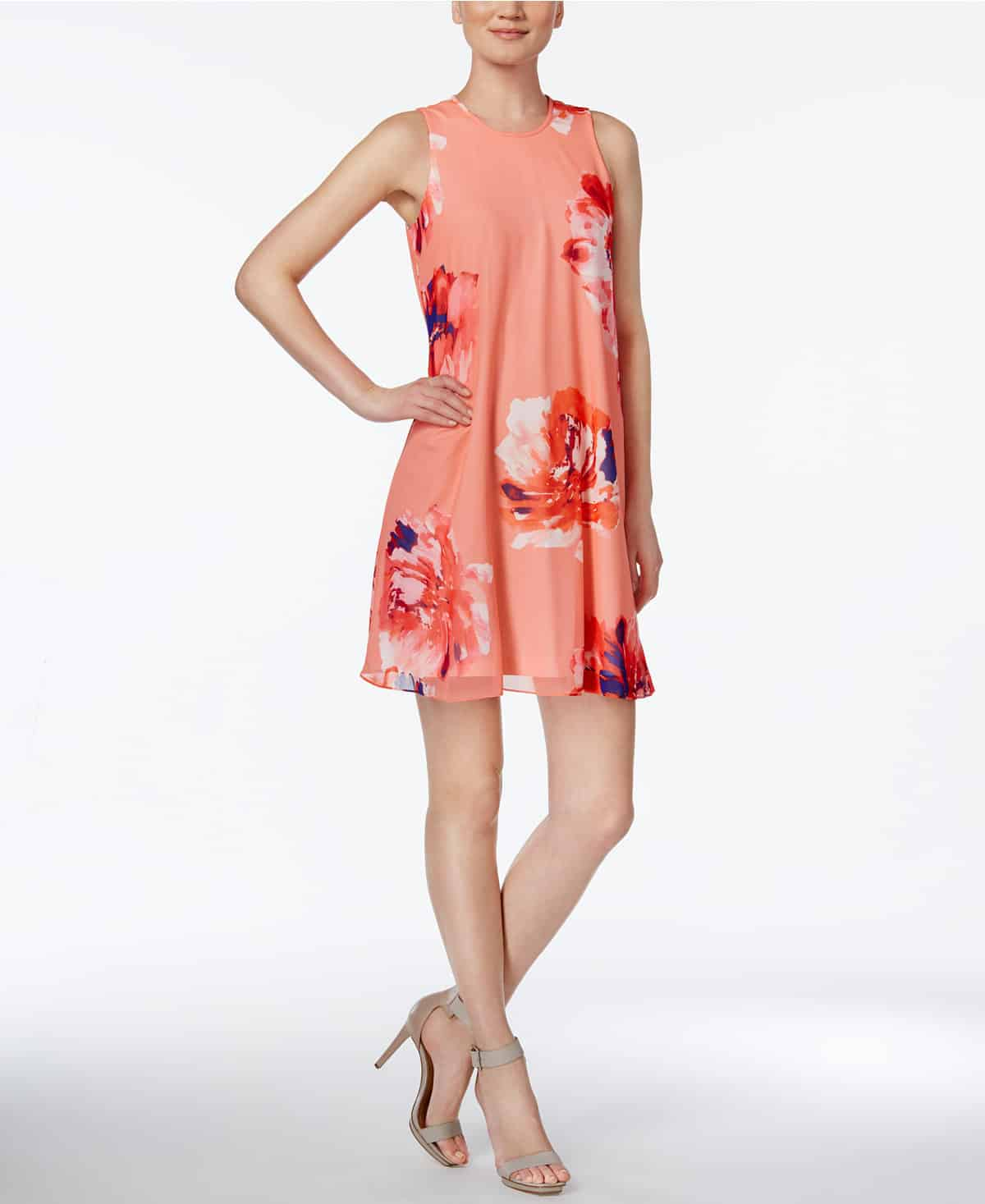 Macy's trapeze dress in peach floral