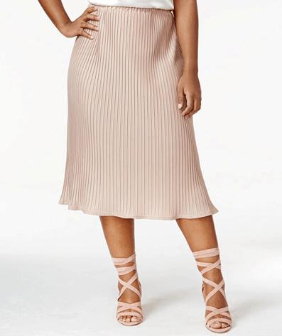 Plus size beige pleated midi skirt