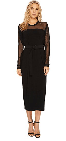 Midi length dress with long, sheer sleeves and belted waist