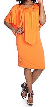 Plus size orange dress with elbow sleeve overlay