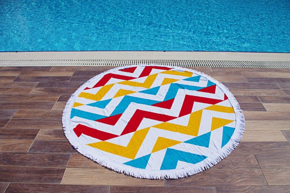 Red, blue and yellow round with geometric pattern