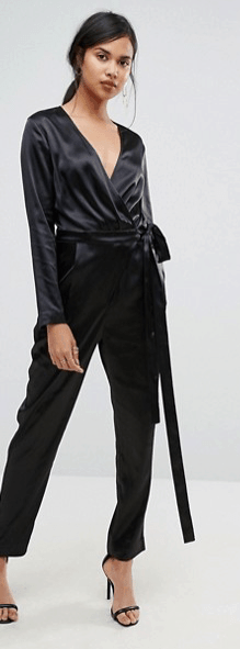 Black satin jumpsuit with tie waist
