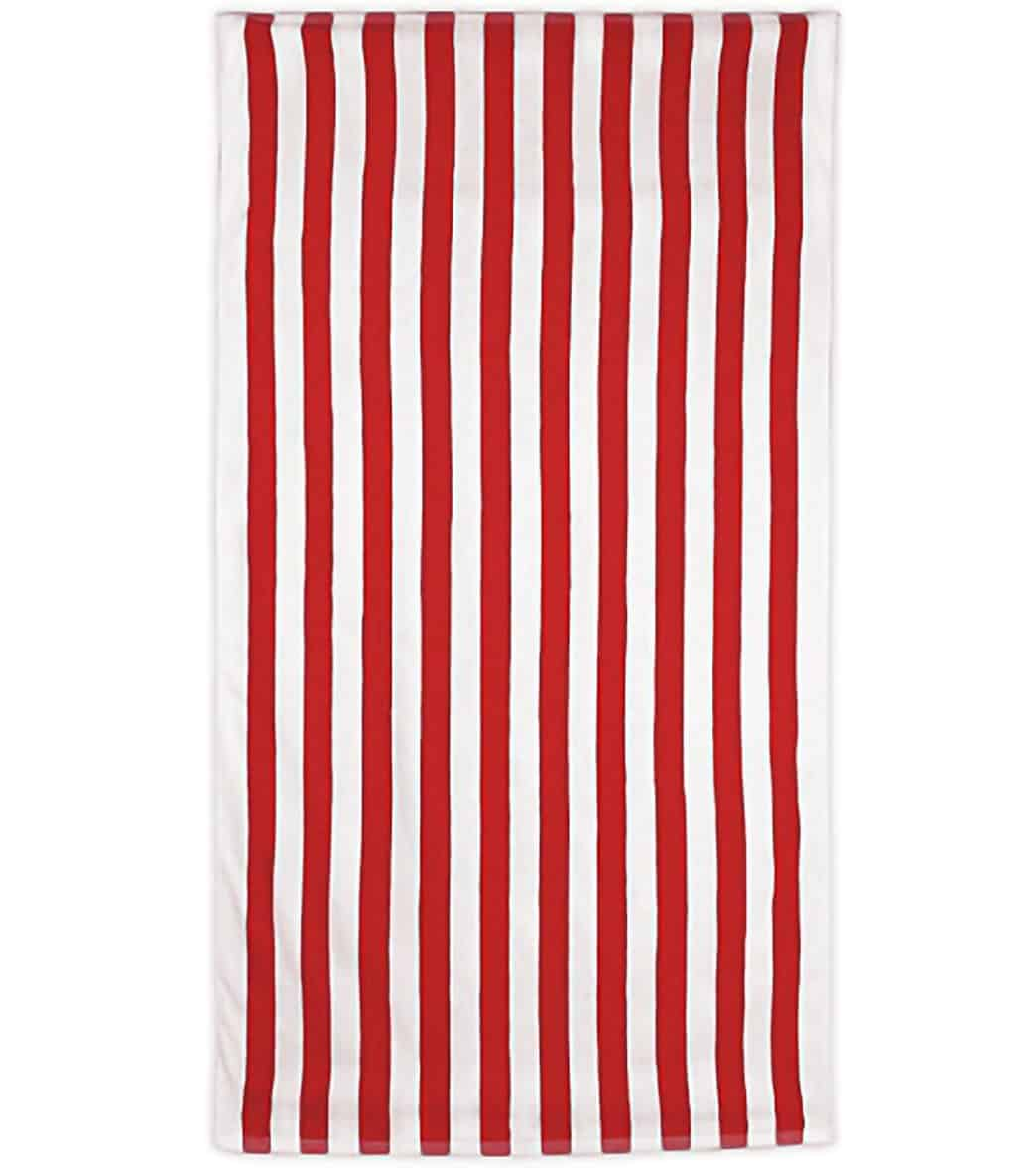 Red and white striped beach towel