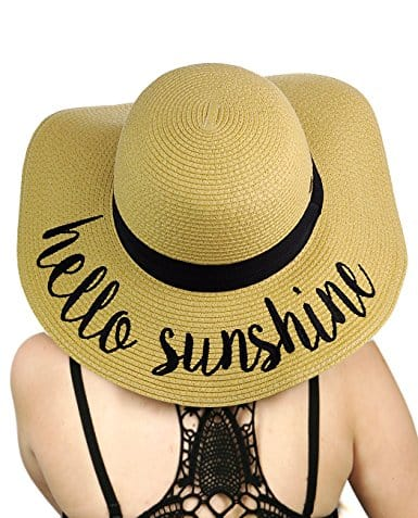 "Floppy sun hat with ""hello sunshine"" embroidery"