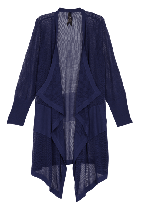 Long, light cardigan with cascading front