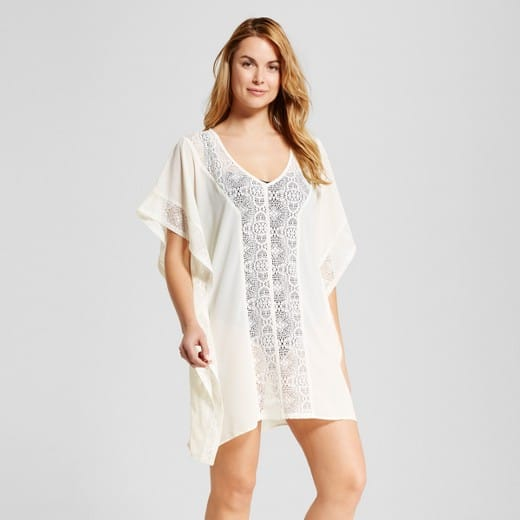 Cream-colored beach cover up with crochet detailing