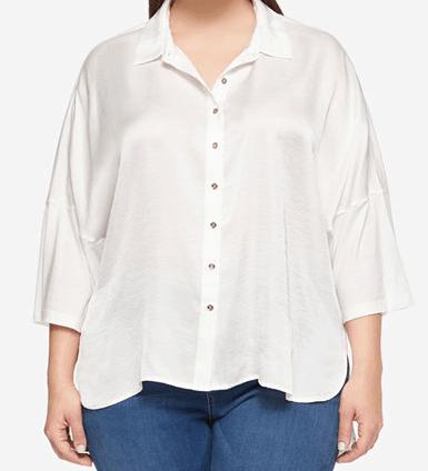 White, plus-size, textured top