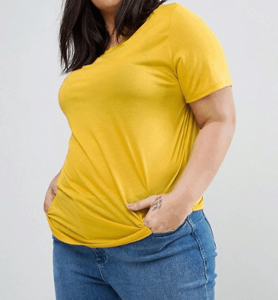 Gold plus-size t-shirt in our fashion for women over 70 collection