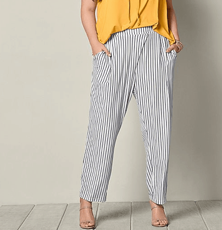 Striped, straight leg pant from Venus in plus-sizes