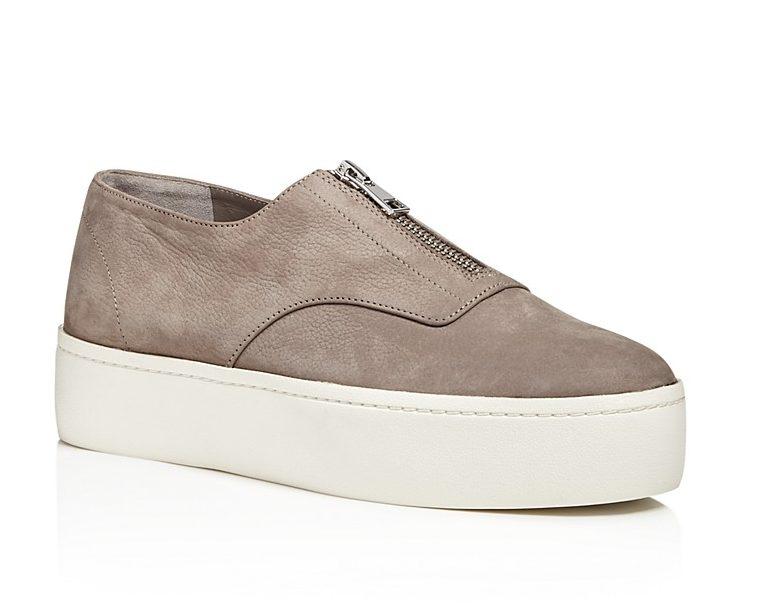 Tan suede slip-on platform sneaker