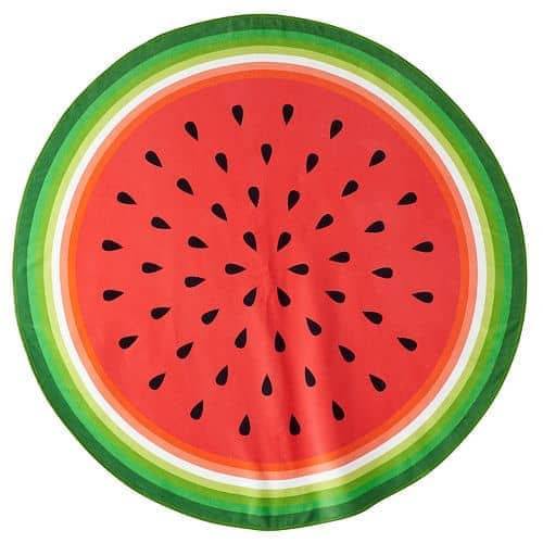 Round beach towel with watermelon design