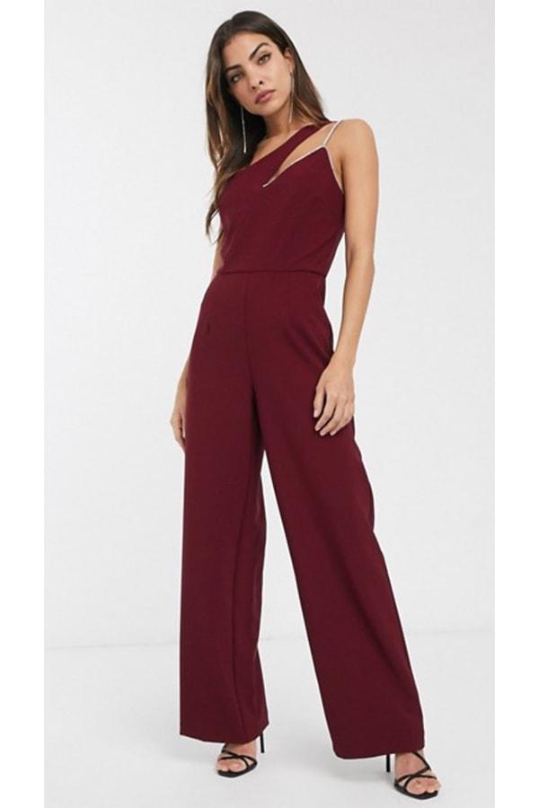 Dark red jumpsuit with rhinestone details