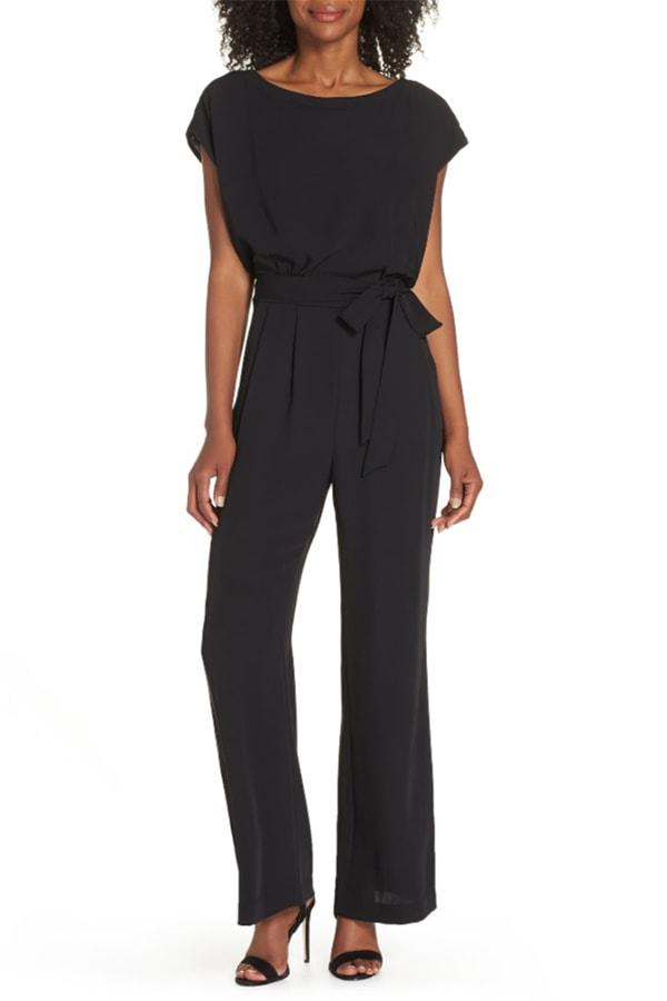 Black wide-legged jumpsuit