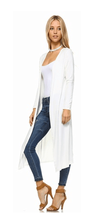 White lightweight duster cardigan