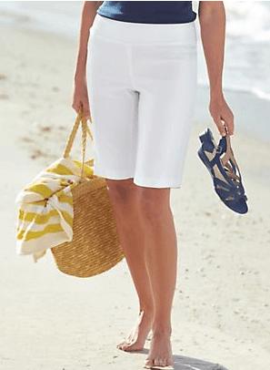 White plus size shorts