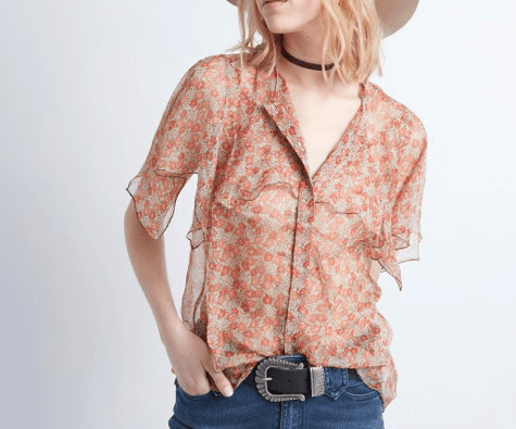 Coral blouse with floral print and mandarin collar