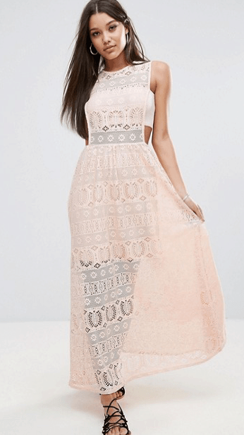 Pink lace dress with waist and side cutout