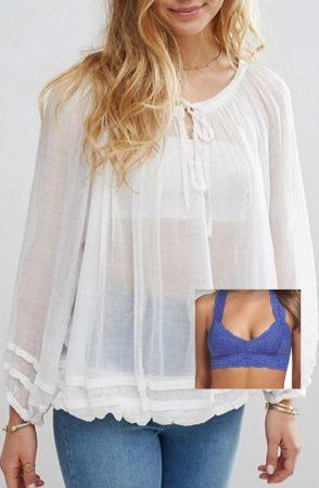 Bralette and sheer blouse