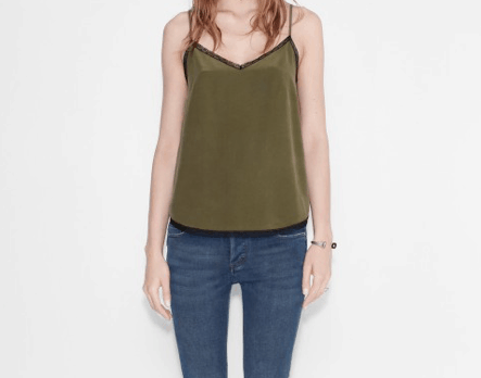 Olive green camisole with black trim