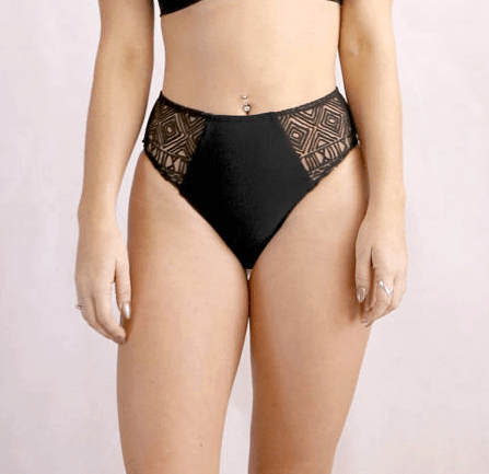 Black bikini bottom with a high waist and embossed sheer panels