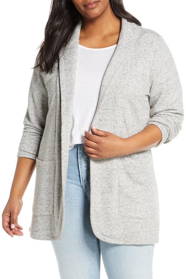 Light gray knit blazer