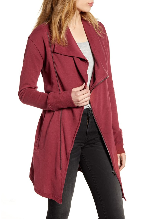 Maroon terry jacket from Nordstrom