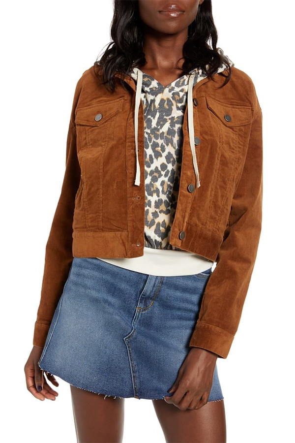 Corduroy crop jacket