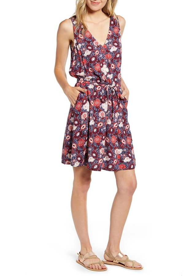 Floral v neck dress with tie waist