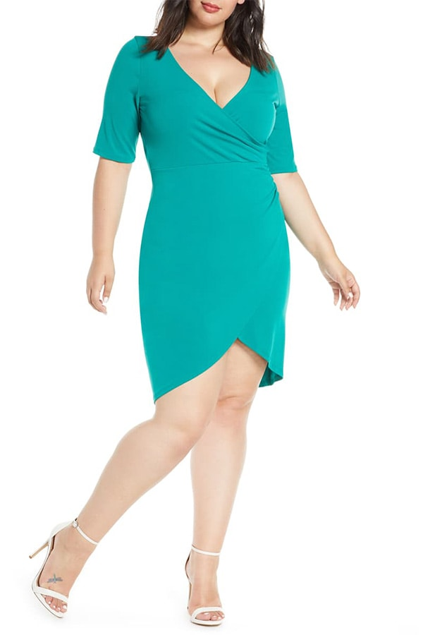 Green, v-neck ruched bodycon dress