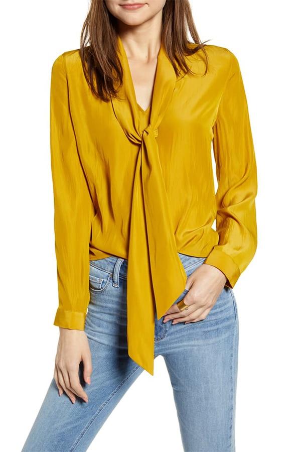 Mustard tie-neck blouse