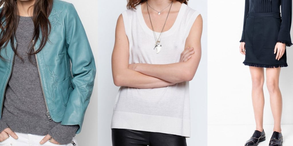 Leather jacket, white tank and fringed skirt from Zadig & Voltaire