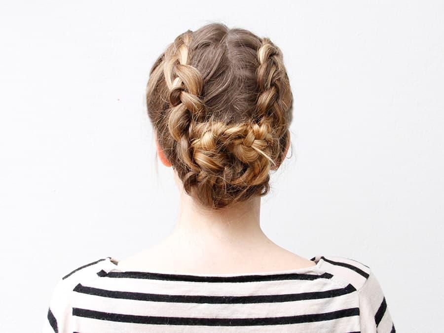 Pinned back dutch braids