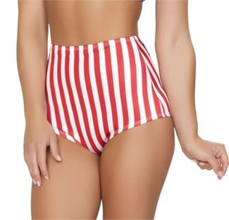 Red and white striped, high-waisted bikini bottoms