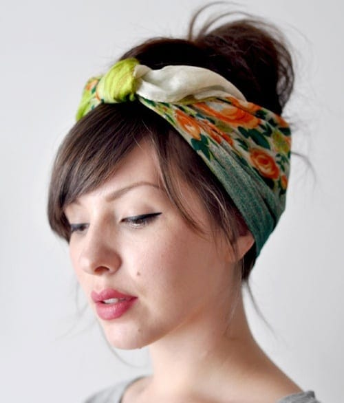Hot weather hair style: Scarf tied updo