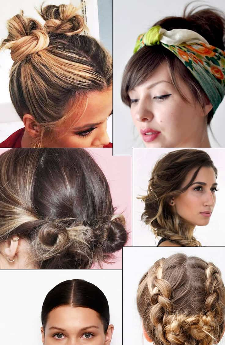Collage of hot weather hair styles for long, medium and short hair.